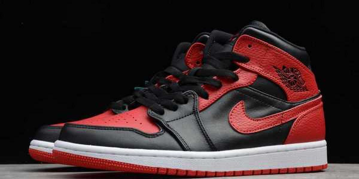 "Air Jordan 1 Mid ""Bred"" Black/Red-White 2020 Newest 554724-074"